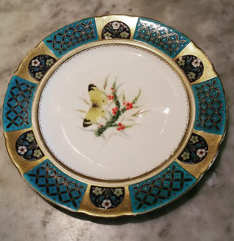 Set of six Minton aesthetic  plates by Dr Christopher Dresser c.1875