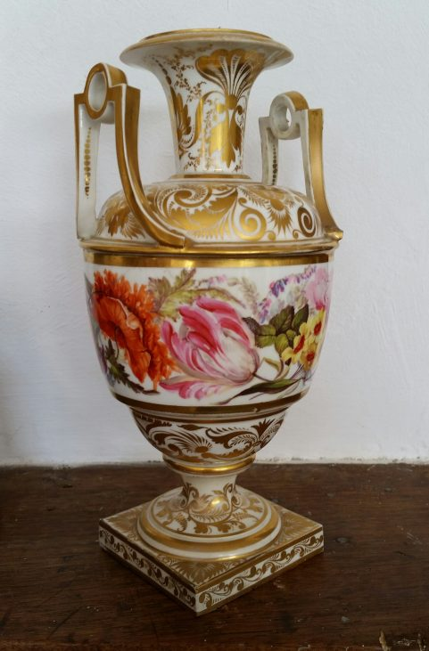 Derby vase decorated by William  'Quaker' Pegg c.1815