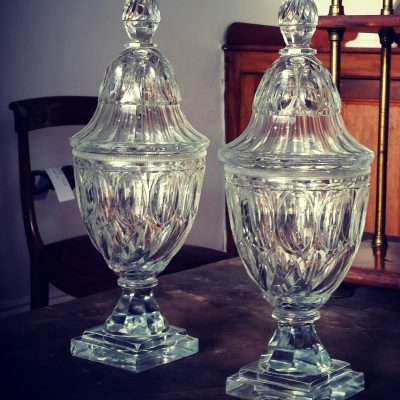 Large pair of Anglo Irish neoclassical vases and covers c.1790