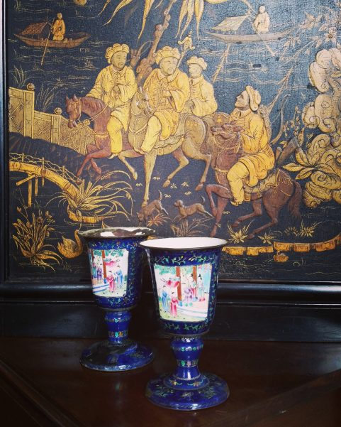 Pair of Canton enamel wine cups c1790