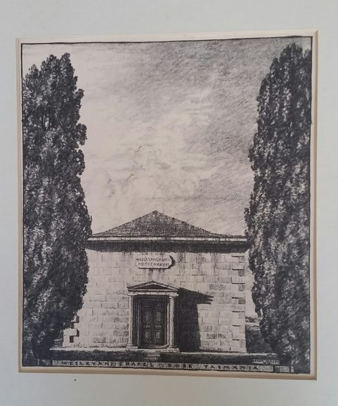 Weslyn Chapel at Ross, Tasmania c1924 by Hardy Wilson