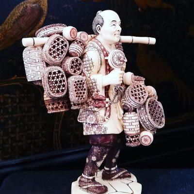 Pair of fine Japanese ivory figures of fishermen c.1880