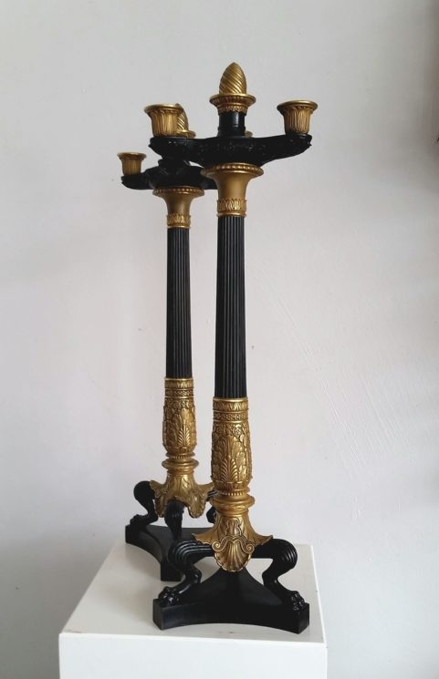 Pair French Empire period bronze candelabra c1815
