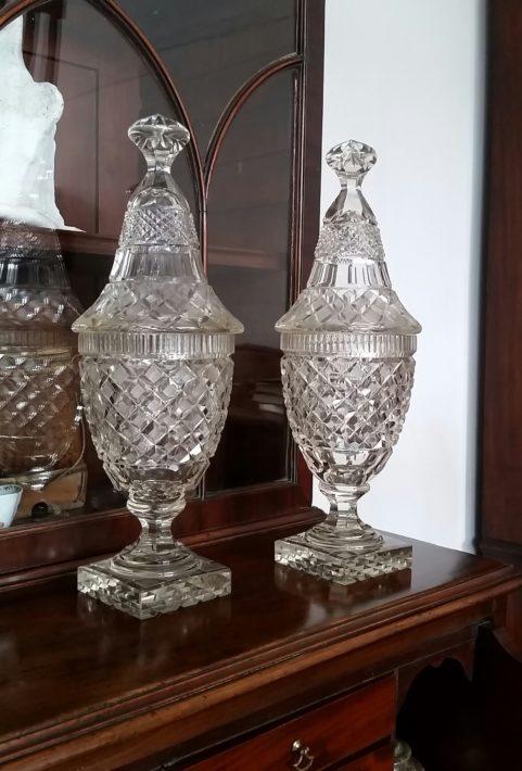 Irish George III period pair of glass mantel vases c 1810