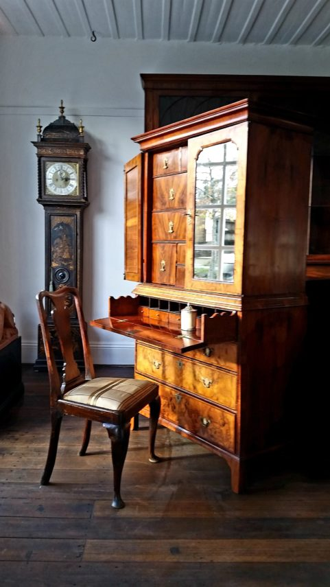 George II walnut secretaire cabinet c 1735