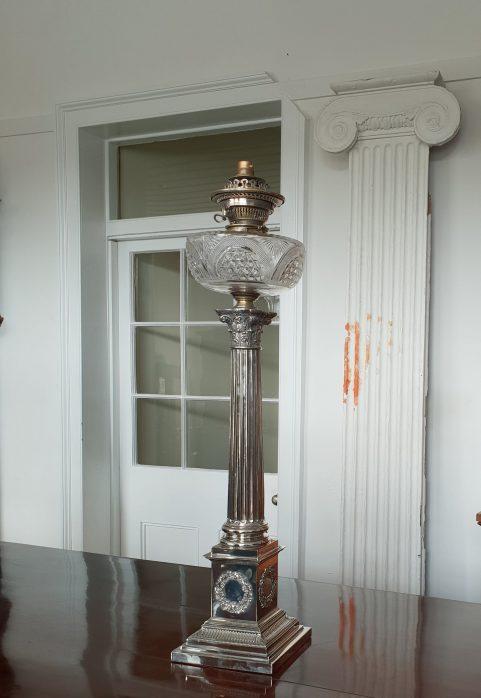 Nelson's column banquet lamp c 1870
