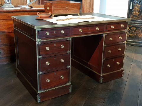 Regency mahogany brass bound campaign partners desk c 1820