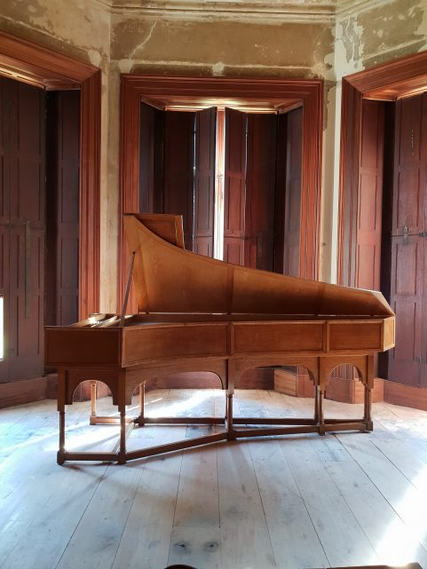 Morris of London Knole pattern oak cased harpsichord
