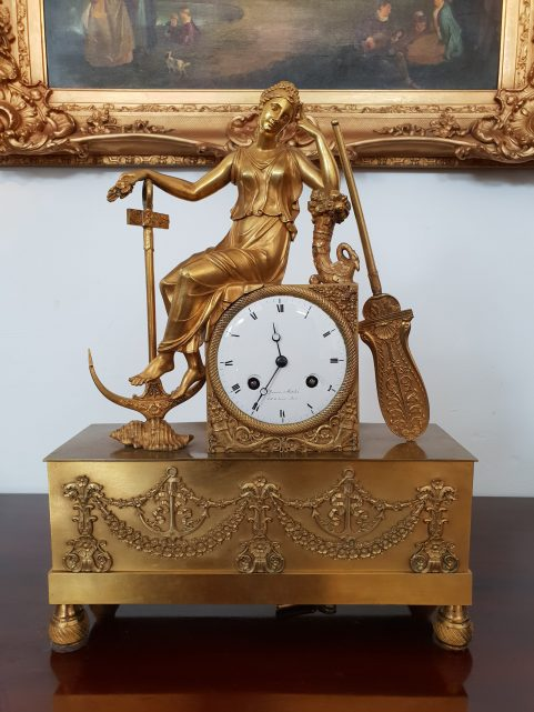 French Empire period clock emblematic of Hope c.1815