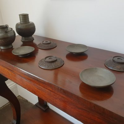 Cantonese coconut shell mounted pewter tea set c 1840.