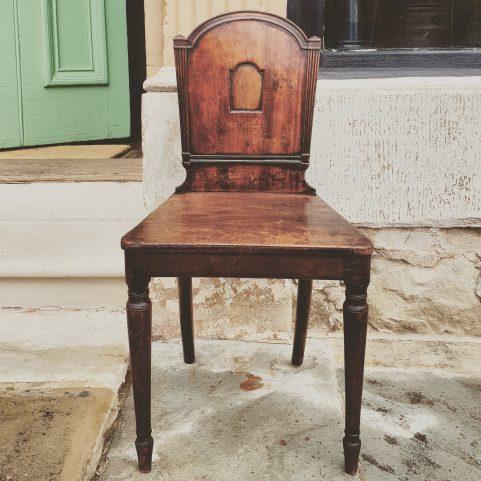 Regency mahogany hall chair c.1810