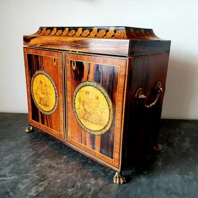 Regency zebrawood sewing cabinet c 1815