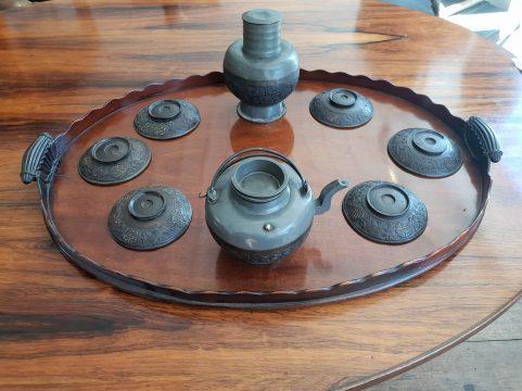 George III mahogany tea tray c 1790