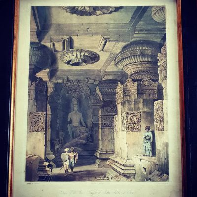 'Interior of the Cave Temple of Indra Sabha at Ellora' published by Capt R. M. Grindlay 1826