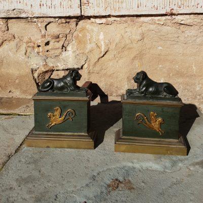 Pair of Regency period bronze fire andirons c. 1815