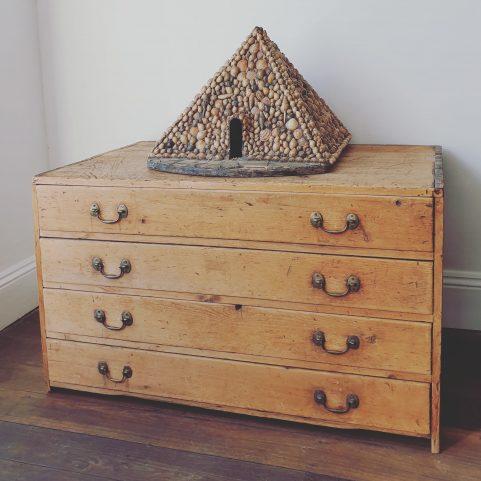 Georgian pine plan chest or print drawers c 1820