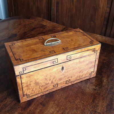 Regency satinwood tea caddy c 1810