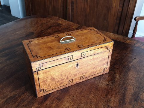 Regency satinwood tea caddy c 1810