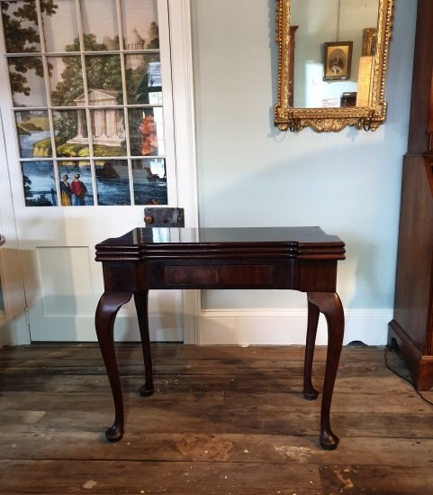 George II Cuban mahogany triple top tea  & card table c 1750