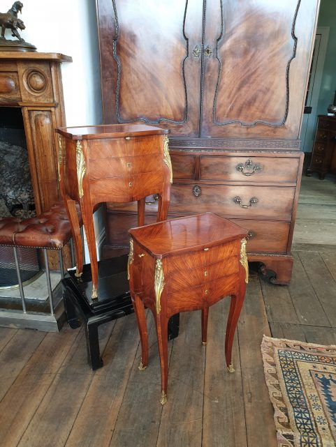 Pair of French palisander Belle Epoque bedside tables c 1890
