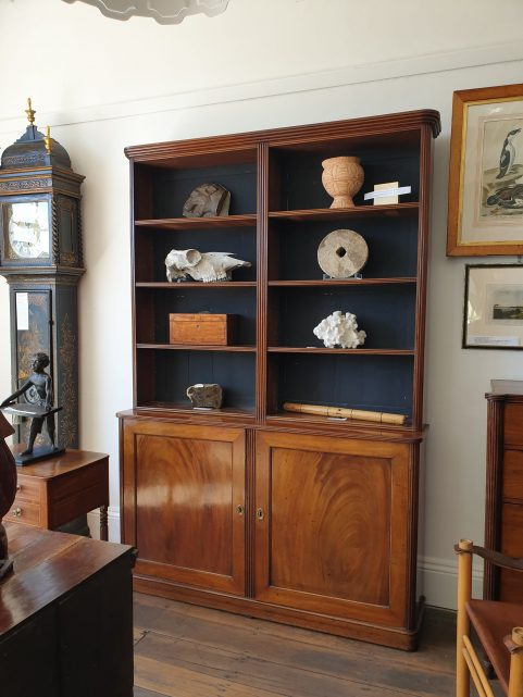 Regency mahogany open library bookcase c 1815