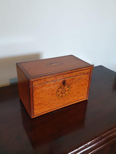 George III period satinwood tea caddy c 1800