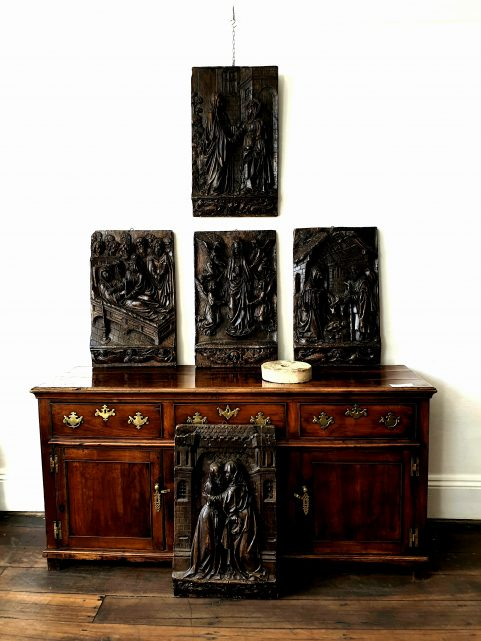 set of five Gothic plaster panels c.1880