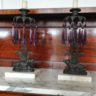 Pair of William IV mantel candlesticks c 1835