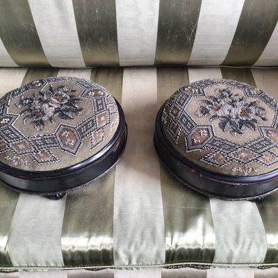 Victorian pair of glass beadwork stools c 1860