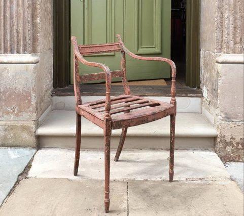 Regency cast iron garden chair c.1820