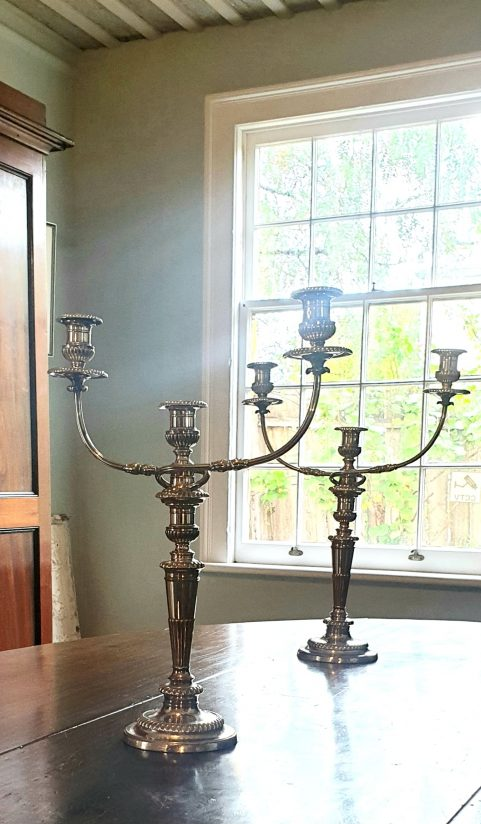 Pair of Regency candelabra by Matthew Boulton c 1805