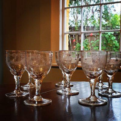 Set of eight Wine Glasses c 1780