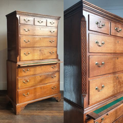 George III oak chest on chest c 1790