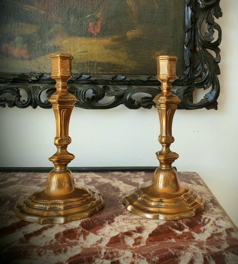 Pair of Regence bronze candlesticks c1730