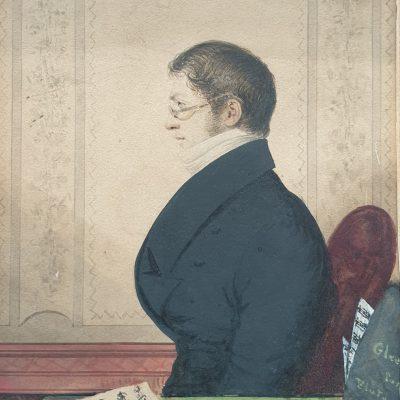 Regency portrait of a Flautist c 1815
