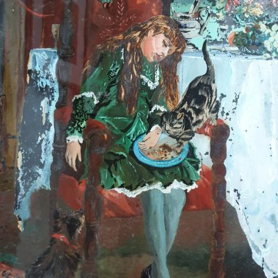Australian reverse glass painting of a cat stealing the dinner c 1890