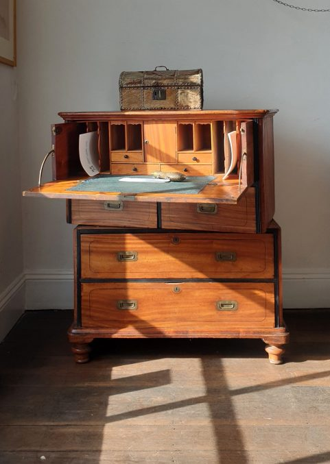 Camphorwood campaign secretaire chest c1840