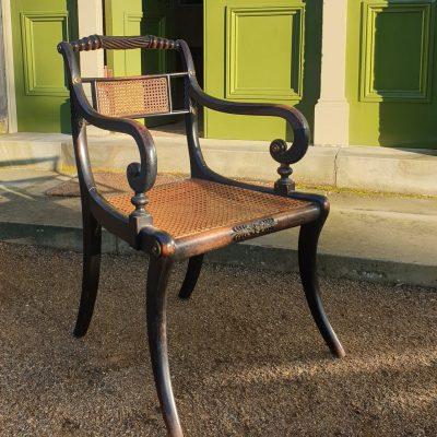 Set of four Regency 'Trafalgar' elbow chairs c 1815