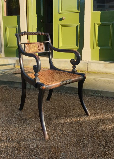 Set of four Regency 'Trafalgar' elbow chairs c 1815