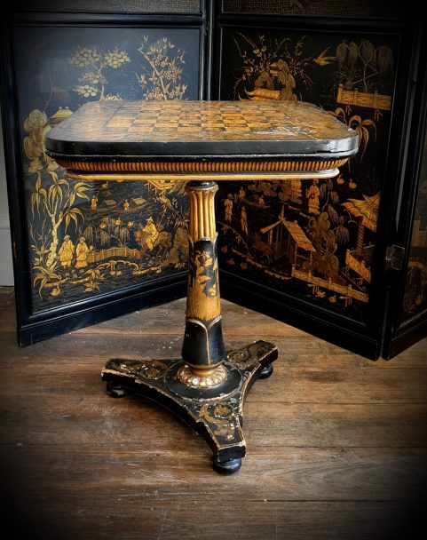 George IV Penwork Chess Table c1825