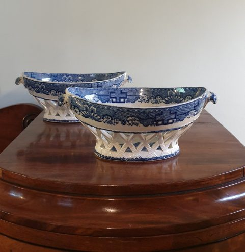 Pair of Staffordshire Pearlware Chestnut baskets c1810