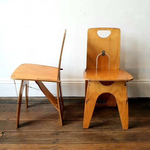 Pair Snap Chairs in Sassafras 1993 by Peter Costello