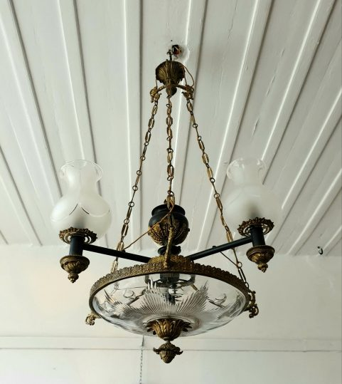 Regency Three Burner Argand Chandelier c 1825