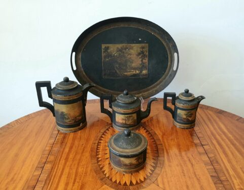 French Empire toleware Arcadian Tea and Coffee set c1810