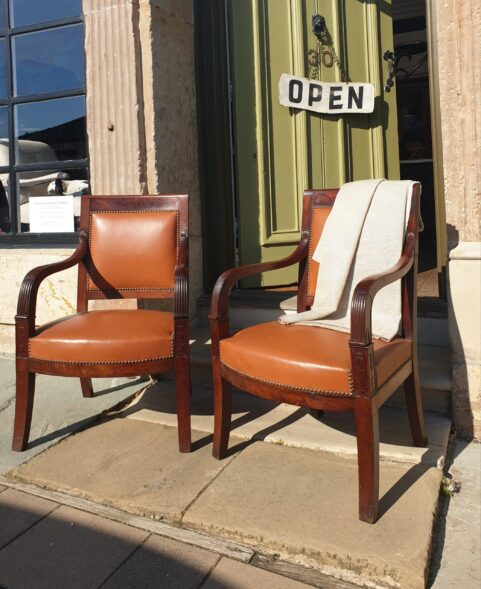 Pair of French Empire period Library Chairs c 1815