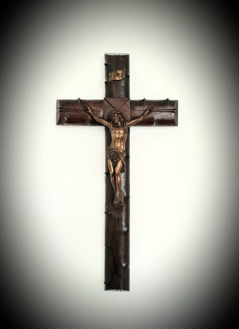 French rosewood & bronze Crucifix c 1880