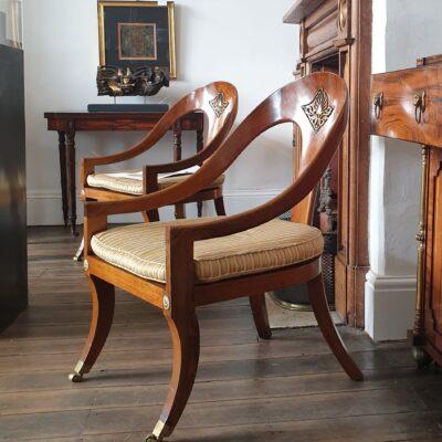 Pair of Regency Revival Roman chairs c 1940
