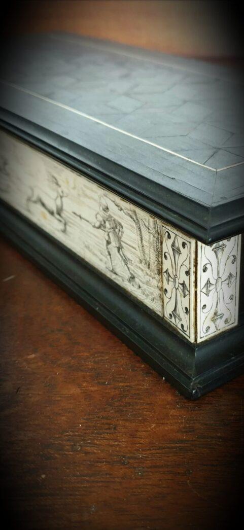 German Ebony & Deer Antler Box c 1750